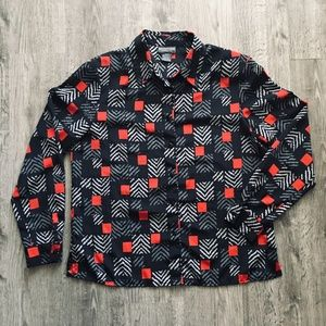 Black Gray Red Geometric Silky Notations Blouse